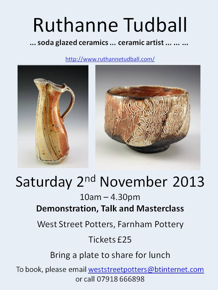 Ruthanne Tudball at West Street Potters – Saturday 2nd November