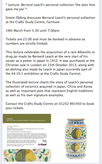 LECTURE – Bernard Leach – 'The pots that gave me joy'  – Wed 19th March 2014