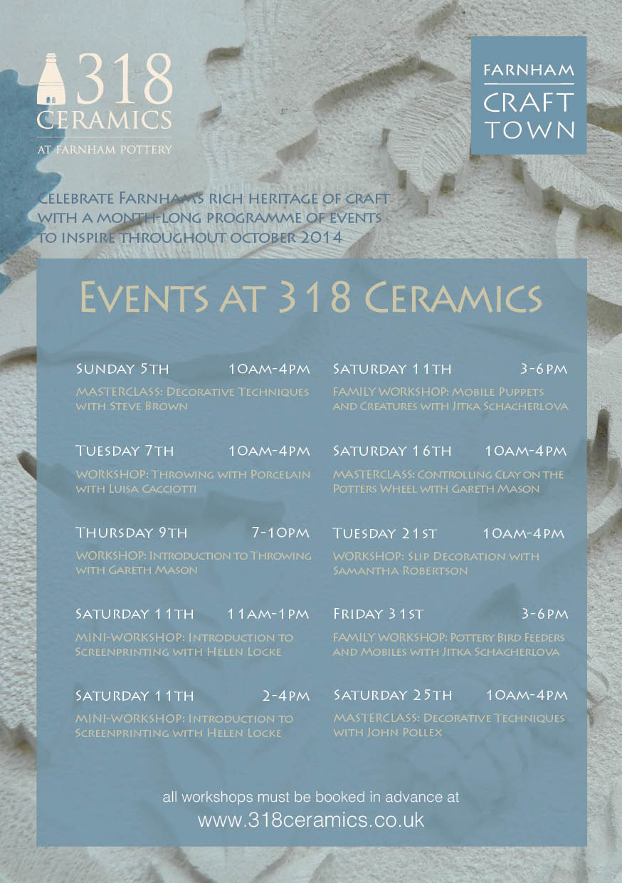 Farnham Craft Town – October Activities from 318 Ceramics