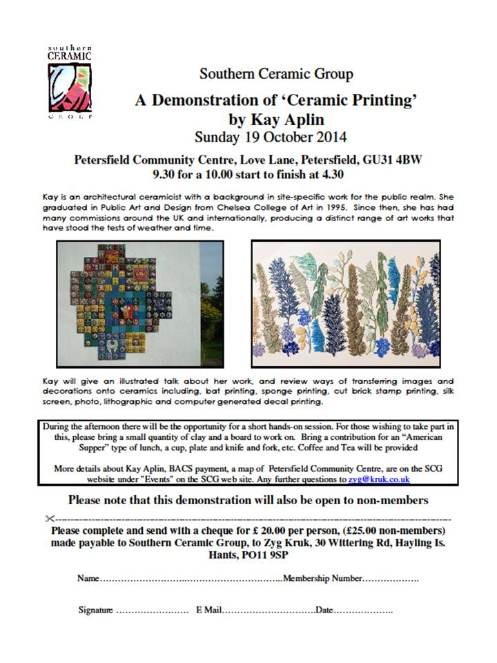 SCG – A Demonstration of 'Ceramic Printing'  by Kay Aplin – Sun 19th October