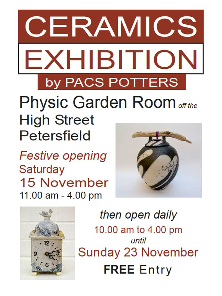 PACS Potters Exhibition, 15th – 23rd November