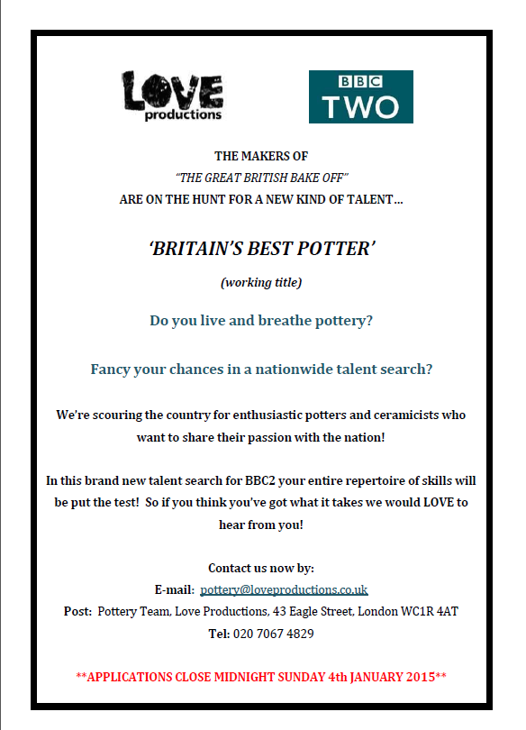 Pottery TV Programme looking for talent….