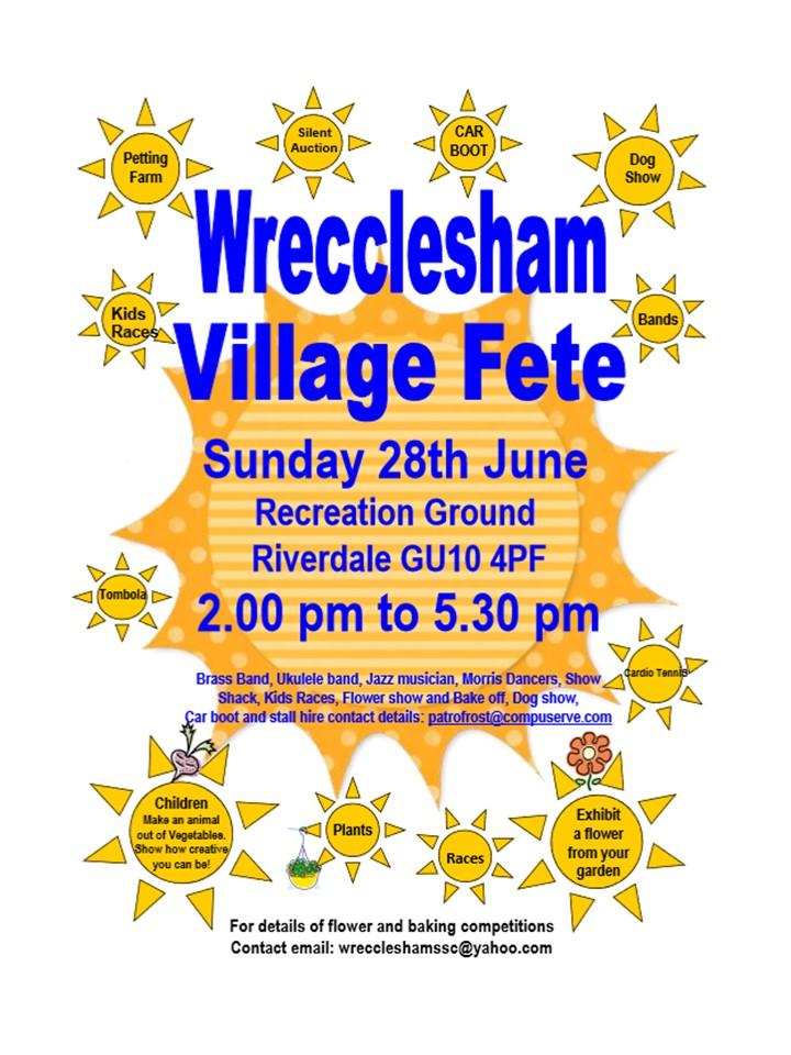 Wrecclesham Village Fete – Sunday 28th June