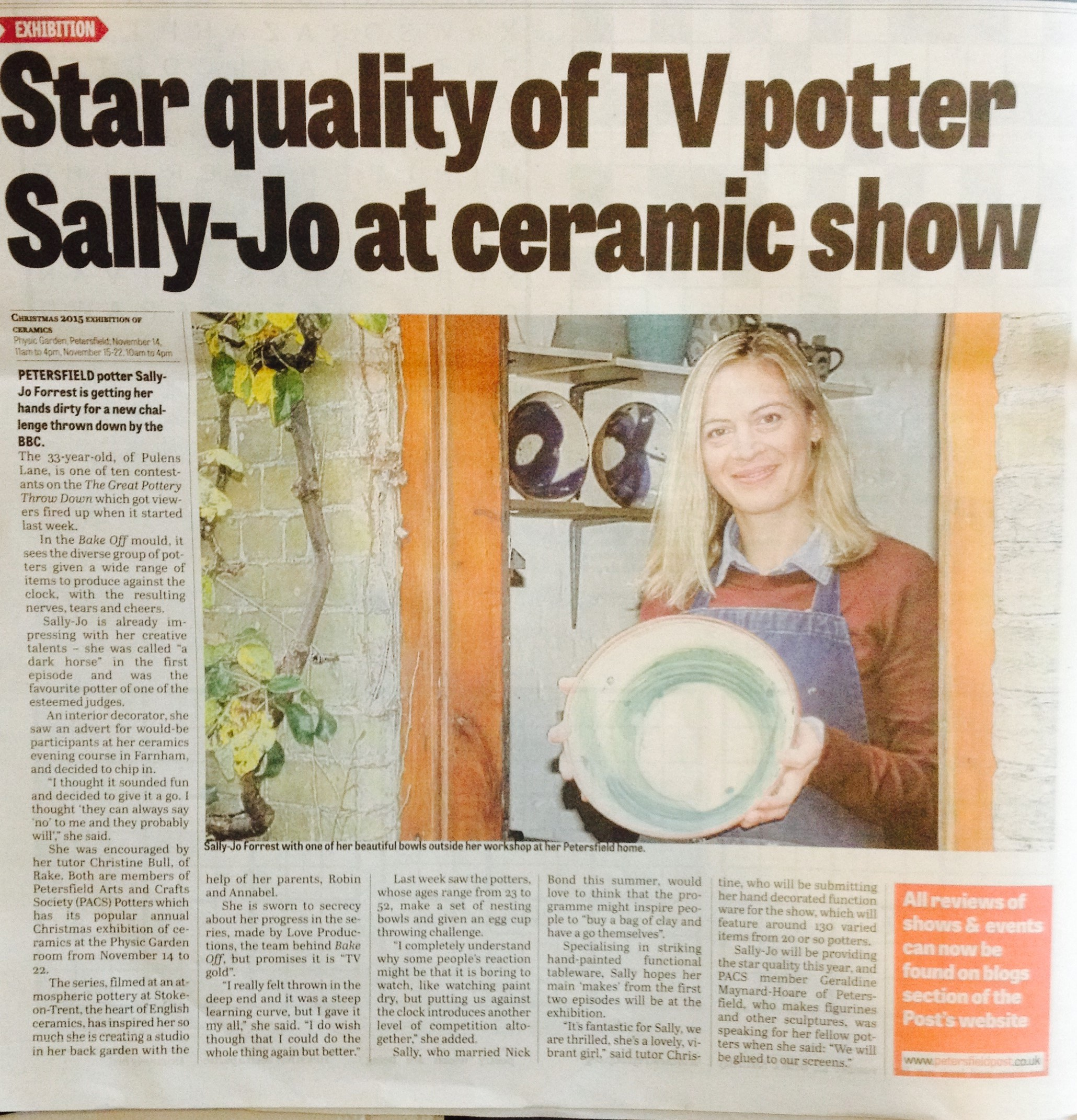 Sally-Jo's pots on show at PACS Potters Exhibition