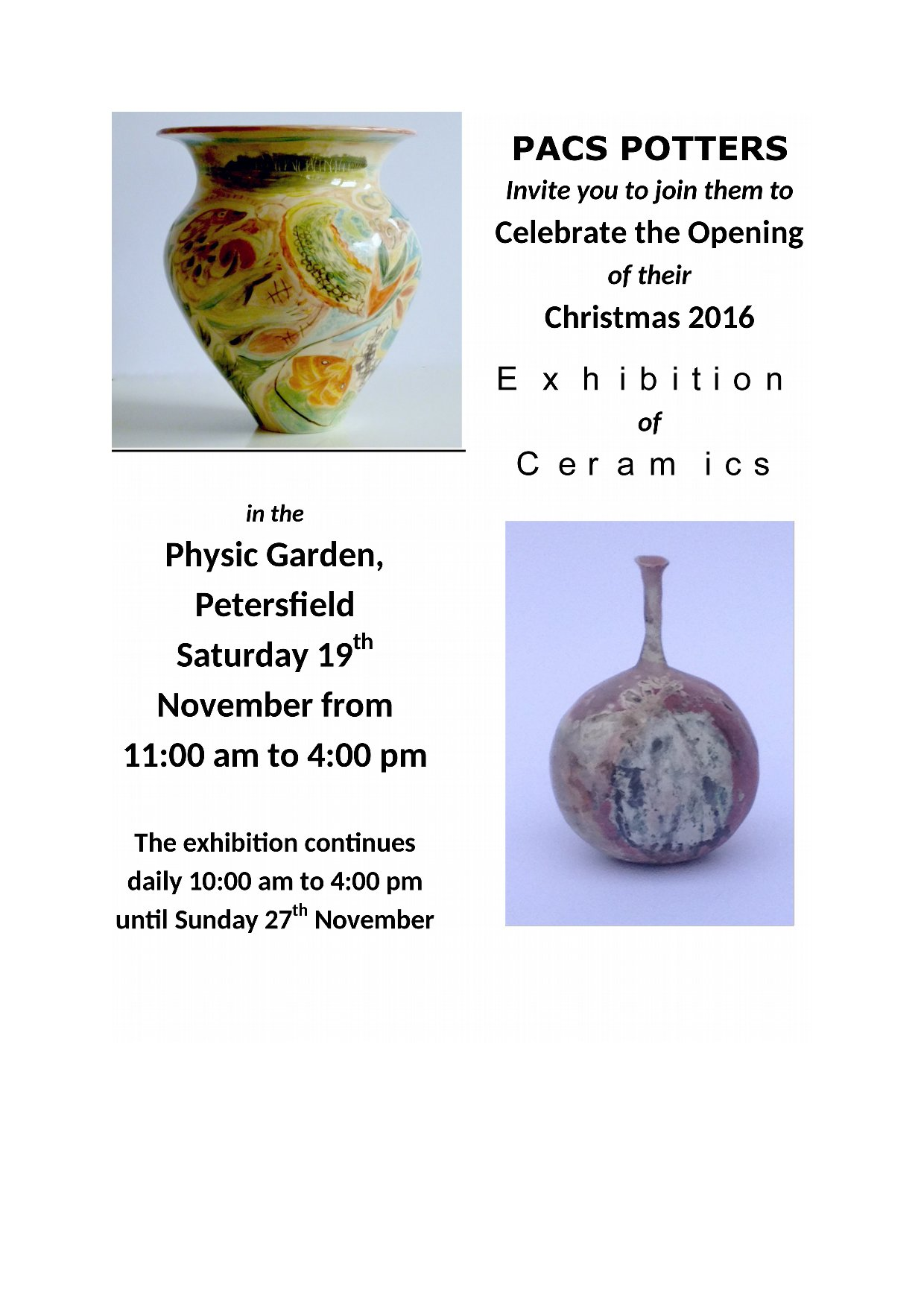 PACS Potters -Exhibition Open 19th-27th Nov